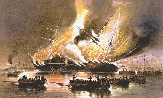 Lithograph of the steam frigate Missouri burning at Gibraltar
