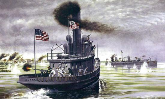 U.S. Revenue Cutter Hudson rushes to the aid of the stricken torpedo boat USS Winslow