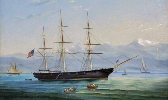 Oil painting on canvas showing USS Supply by W. R. May