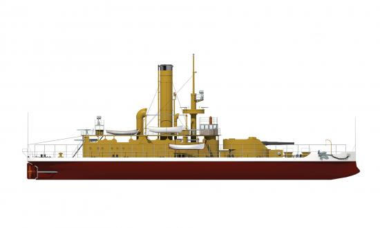 Starboard profile drawing of USS Wyoming (Monitor No. 10)
