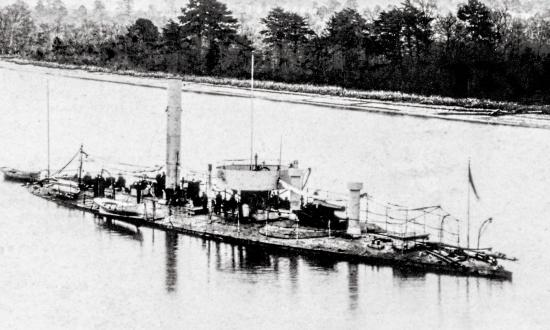 The USS Casco was one of only four light-draft monitors commissioned during the Civil War. She served on the James River from late 1864 through 1865, here near Dutch Gap, in her guise as a torpedo boat.