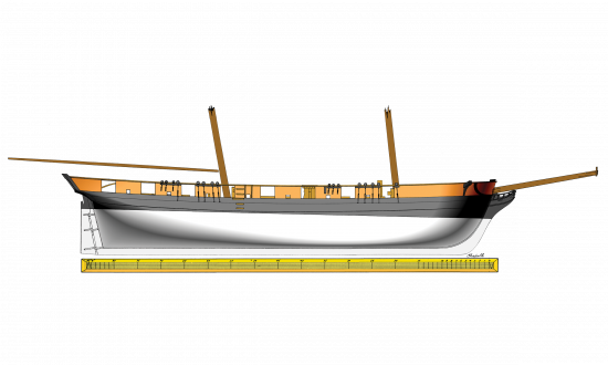 Plan of the brig Oneida showing profile of starboard side
