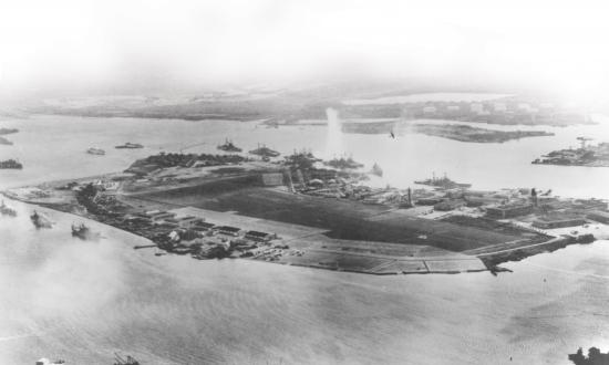 Aerial view of Ford Island, Pearl Harbor, under attack on 7 December 1941