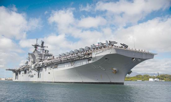 The amphibious assault ship USS America (LHA-6) and its amphibious ready group (ARG) are moored at Joint Base Pearl Harbor-Hickam