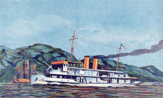Illustration of a Yangtze river gunboat by R. E. Goode; C. 1931