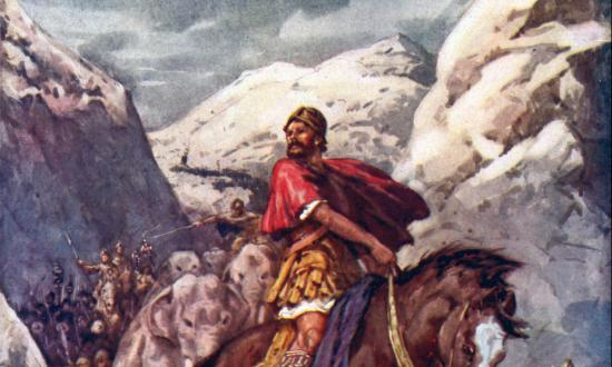 Illustration of Hannibal Crossing the Alps