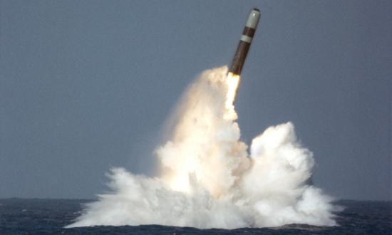 Trident II D-5 SLBM breaking the surface during a test off the Florida coast