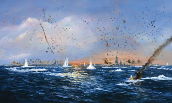 """Battle of the Philippine Sea, Evening"" by John Hamilton/Navy Art Collection, Na"