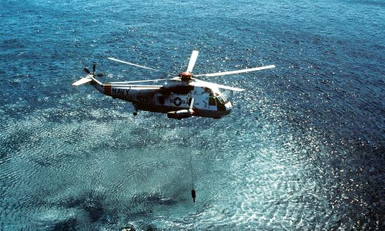 Air-to-air right side view of a Navy SH-3D Sea King  helicopter assigned to Helicopter Anti-Submarine Squadron 84 during flight operations.