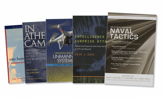 Spread of book covers for One Hundred Days: The Memoirs of the Falklands Battle Group Commander, Operational Research for Unmanned Vehicles, and the U.S. Naval Institute on Tactics