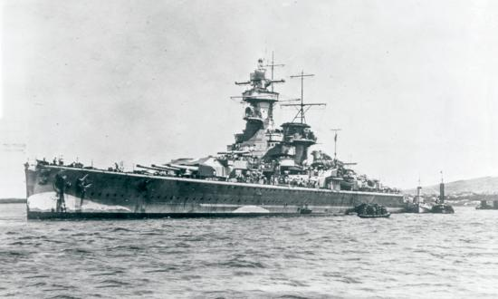 The German pocket battleship Admiral Graf Spee at anchor in Montevideo Harbor, Uruguay, after the Battle of the River Plate and before her scuttling.
