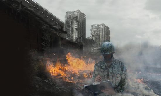 Composite of Navy officer in battle gear standing in front of a bombed-out city