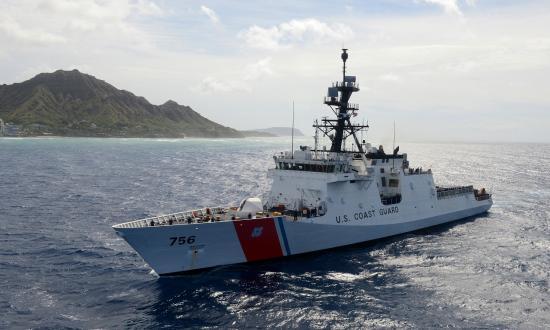 USCGC Kimball at sea off the coast of Oahu.