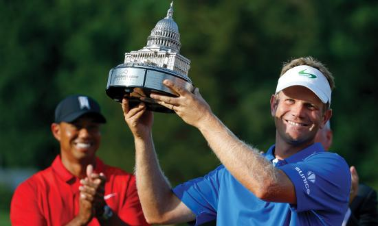 Billy Hurley III raises the Quicken Loans National PGA trophy