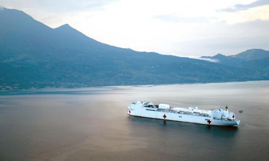 The hospital ship USNS Comfort (T-AH-20) anchored off the coast of Honduras during Enduring Promise 18