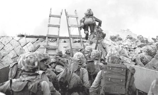 U.S. Marines breach the seawall in Inchon Harbor, September 1950.
