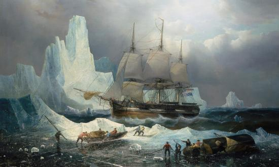 "Painting, ""HMS Erebus in the Ice, 1846,"" by Francois Etienne Musin"
