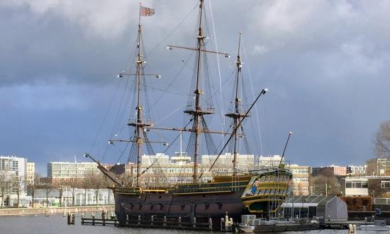 Replica Dutch East Indiaman Amsterdam berthed at the National Maritime Museum
