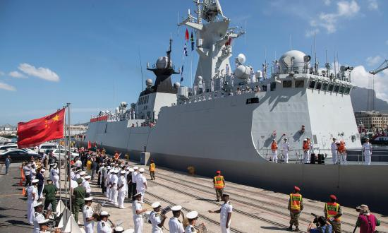 The Chinese frigate Weifang is welcomed in Cape Town, South Africa, prior to the 2019 Multinational Maritime Exercise with the Russian and South African navies.