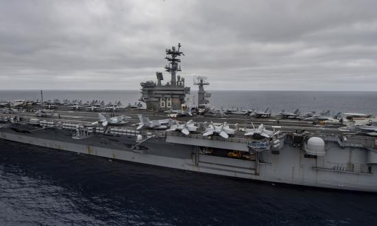 The USS Nimitz (CVN-68) transits the Pacific Ocean last month.