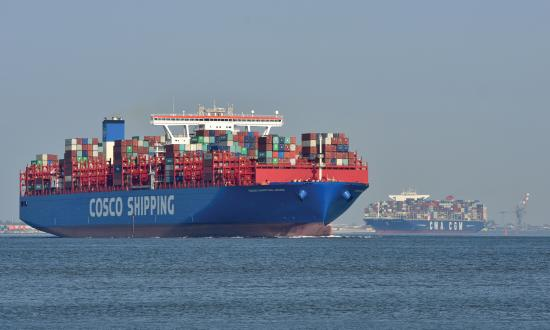 COSCO Shipping container ship Aries & CMA CGM container ship Bougainville upstreaming the river Elbe