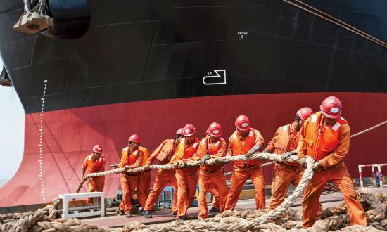 Workers at Chengxi Shipyard, China