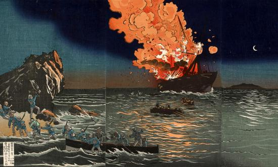 "Woodblock print, ""Picture of the Naval Battle near Pungdo in Korea,"" by Kobayashi Kiyochika"