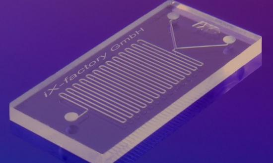 "An example of a microfluidics ""lab on a chip."""