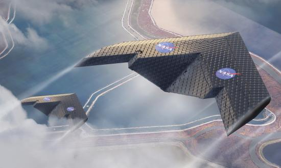 A rendering of a concept that uses MIT and NASA's new wing design