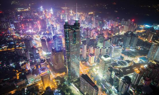 Aerial view of the city of Shenzhen in Guangdong, China at night