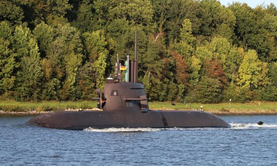 The German submarine S 138 (U33) in the Kiel Canal