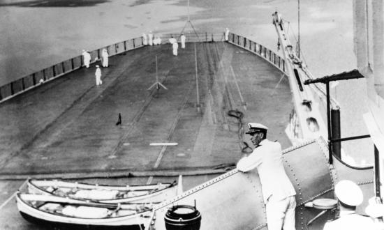 Captain Ernest J. King USN on the Bridge of USS Lexington (CV-2) 28 June 1930.