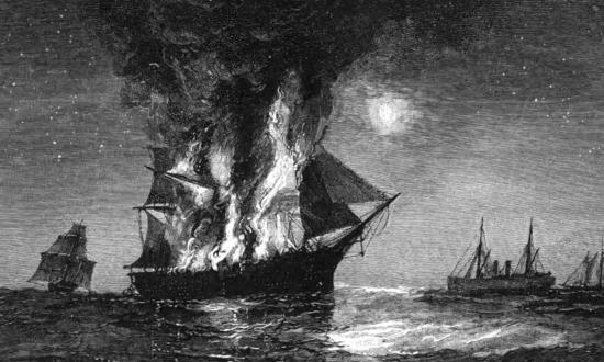 12 August 1864: The packet ship Adriatic, having fallen victim to the notorious Confederate raider Tallahassee (immediate right), lights up the sky before sinking to her grave. Divers now have located the shipwreck.