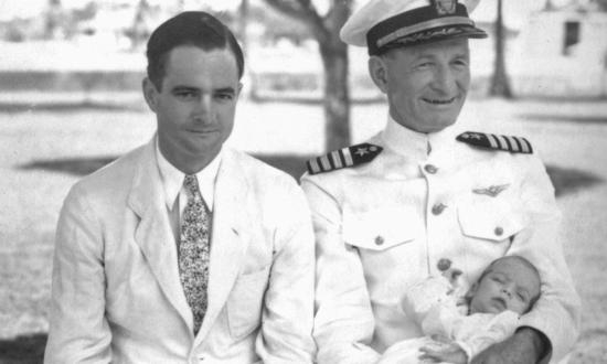 Admiral John Sidney McCainSr. (right), Admiral John Sidney McCain Jr. (left), and the future Senator John McCain (in his grandfather's arms).