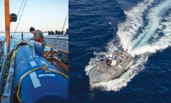 Composite of a sailor working on a Kinfefish UUV and a Unmanned Influence Sweep System USV underway