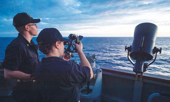 Kings Point cadets use a sextant to fix their ship's position.