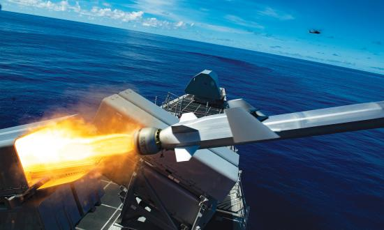 A Naval Strike Missile launch at sea