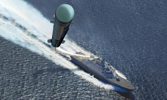 Concept art of a Navy littoral combat ship launching a AGM-114L Longbow Hellfire missile
