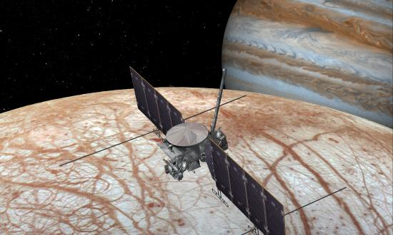 Artist's rendering of the Europa mission spacecraft orbiting the moon with Jupiter in background