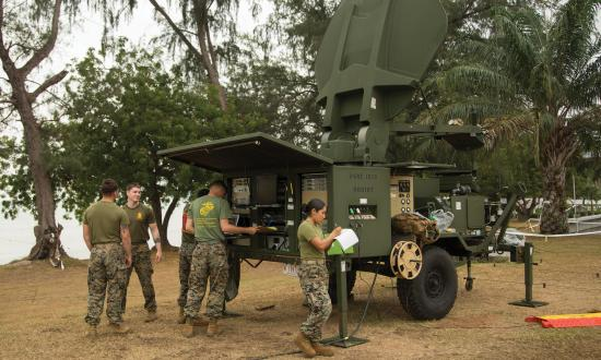 U.S. Marines operate a Very Small Aperture Terminal in support of exercise Cobra Gold 19 in Phra Maha Jetsadaratchao Camp, U-Tapao, Thailand