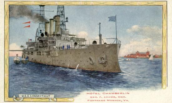 Postcard of the USS Connecticut (BB-18)