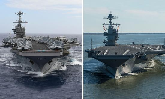Composite of bow-on views of the USS Harry S. Truman (CVN-75) and Gerald R. Ford (CVN-78)
