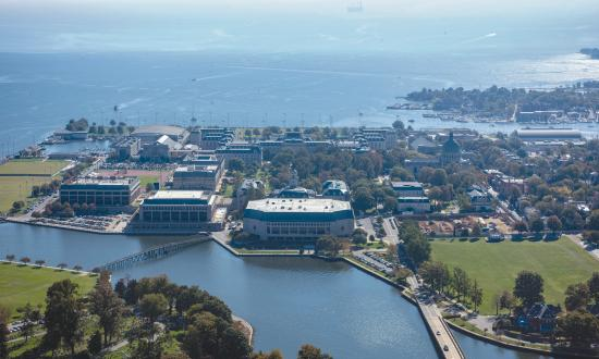 Aerial view of the U.S. Naval Academy looking southeast towards the Chesapeake Bay
