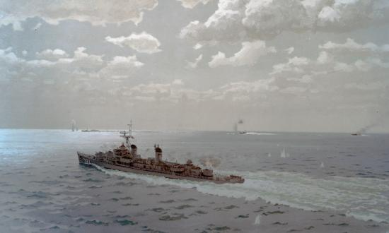 Oil painting by Cmdr. E.J. Fitzgerald depicts the engagement between Maddox and three North Vietnamese motor torpedo boats on 2 August 1964