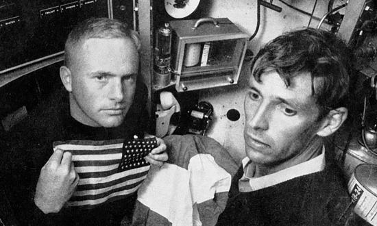 Lieutenant Don Walsh and Jacques Piccard on board the Trieste