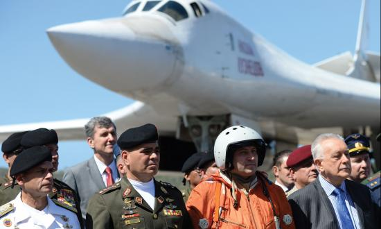 Venezuelan Defence Minister Vladimir Padrino pictured after the arrival of two Russian Tupolev Tu-160 strategic long-range heavy supersonic bomber aircrafts at Maiquetia International Airport