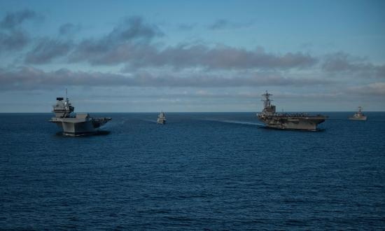 HMS Queen Elizabeth and USS George H. W. Bush at sea in 2017
