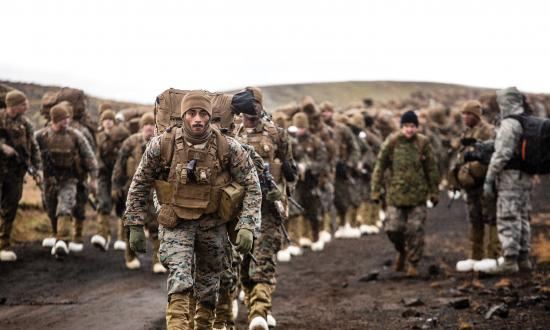 U.S. Marines with the 24th Marine Expeditionary Unit march across the Icelandic terrain in preparation for Exercise Trident Juncture 2018.