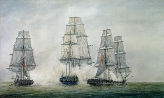 Watercolor drawing of the Frigate Alliance bracketed by fire on her stern quarters from the sweep-fitted sloops-of-war HMS Trepassey and Atalanta on 29 May 1781