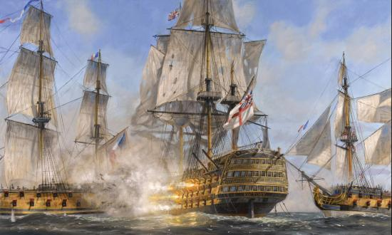 "Breaking the Line: The Battle of Trafalgar, oil on canvas, 24""x 36"" By Patrick O'Brien"